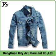 JZJ custom OEM factory men denim jacket  long sleeve wash design