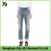 J0010 JZJ OEM CUSTOM factory women broken wash cotton denim long pants