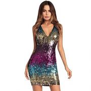 00249 Women Sexy V-Neck Bodycon Dress Sparkly Sequin Cocktail Short Mini Dress Gold